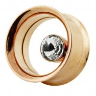 Bezel Set Single Crystal Stone Rose Gold Platted Ear Flesh Tunnel