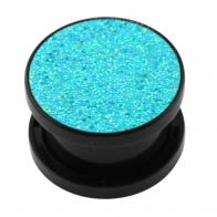 Acrylic Black Glittering Aqua Screw Fit Flesh Tunnel