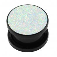 Acrylic Black Glittering Rainbow Screw Fit Flesh Tunnel