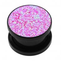 Acrylic Black Glittering Pink Screw Fit Flesh Tunnel