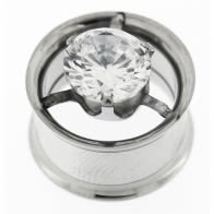 Single CZ in Center Steel Flesh Tunnel Body Jewelry