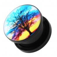 Tree of Life Logo UV External Screw Fit Ear Flesh Tunnel Gauges