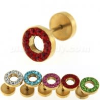 Multi Jeweled 10 mm Gold PVD Flat Disc with Hole Invisible Ear Plug