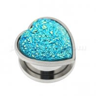 Single Rough Glittering Aqua Heart Surgical Steel Flesh Tunnel
