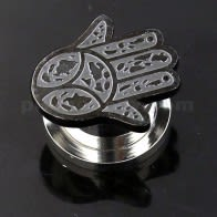 Hamsa or Fathima Hand PVD Black Surgical Steel Flesh Tunnel