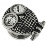 Clear CZ Eye Surgical Steel Owl Flesh Tunnel