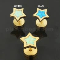 Gold Plated Star Opal Stone Fake Ear Plug