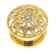 Gold PVD Plated Micro Jeweled Flower Ear Flesh Tunnel