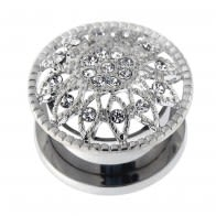 Surgical Steel Micro Jeweled CZ Flower Flesh Tunnel