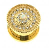 PVD de ouro de micro xoias xoias con centro de túnel de ópalo de pedra opal