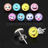 Smiley Logos Sterling Silver Ear Stud