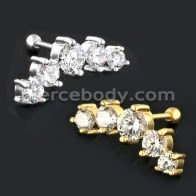 Dazzling Five CZ Stone Cartilage Helix Tragus Piercing Ear Stud
