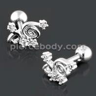 Spiral Floral Cartilage Helix Tragus Piercing Ear Stud
