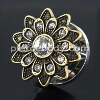 Oxidized Flower Micro Jeweled CZ Stone Ear Flesh Tunnel