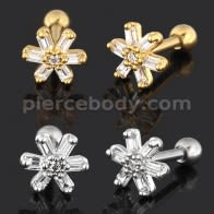 Square Crystal Flower Cartilage Helix Tragus Piercing Ear Stud