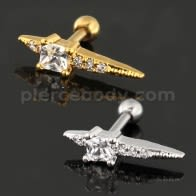Jeweled Axe Cartilage Helix Tragus Piercing Ear Stud