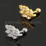 Jeweled Leaf Cartilage Helix Tragus Piercing Ear Stud