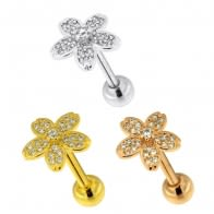 Micro Jeweled Flower Cartilage Helix Tragus Piercing Ear Stud