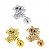 Micro Jeweled Hello Kitty Cartilage Helix Tragus Piercing Ear Stud