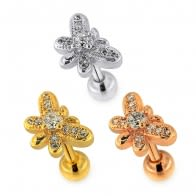 Micro Jeweled Butterfly Helix Tragus Piercing Ear Stud