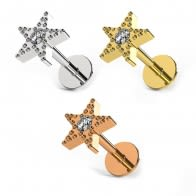 Tiny Jeweled Star Surgical Steel Helix Tragus Piercing Ear Stud