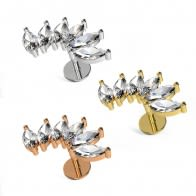 Marquise CZ's in Wave Surgical Steel Helix Tragus Piercing Ear Stud