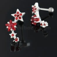 Varias das estrelas Espumante 925 Sterling Silver cartilaxe do traio Piercing