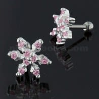 925 Sterling Silver Snowflake cartilaxe do traio Piercing Stud Ear