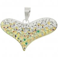 Multi Crystal Stone Heart With Silver Pendent