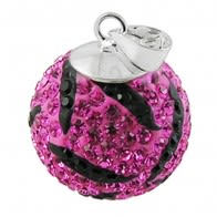 Pink And Black Crystal Stone Studded Silver Zebra Pendent