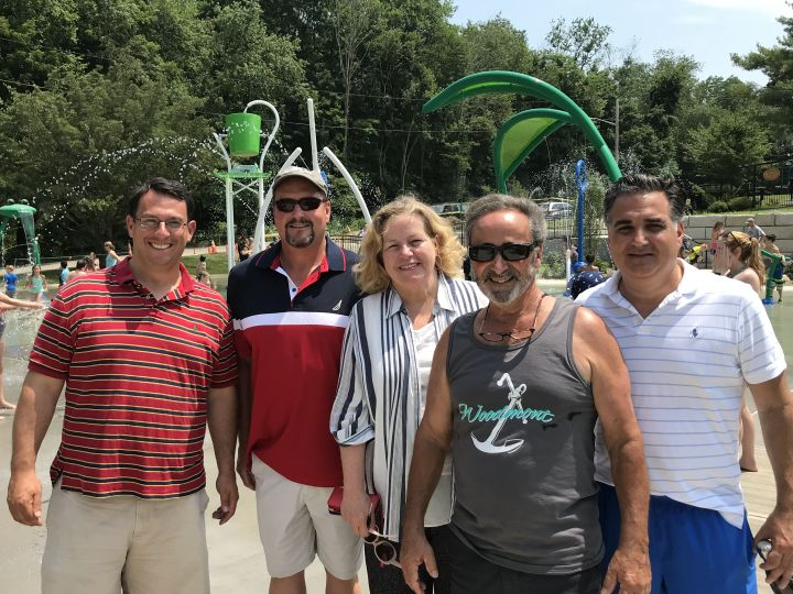 The opening of the Splash Pad at Eisenhower Park today was a sight to behold …. a HUGE hit for kids and their parents.
