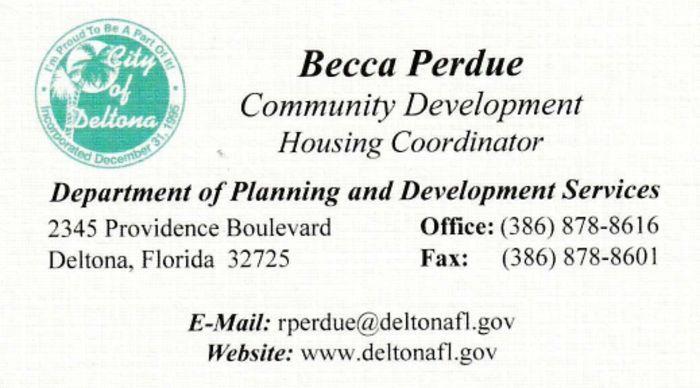 City of Deltona Community Development Housing Coordinator Becca Perdue