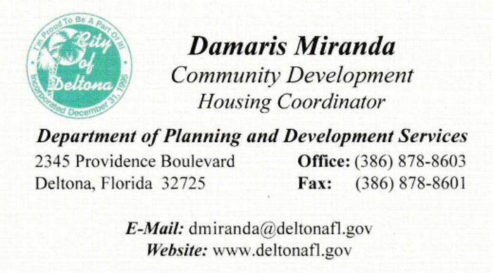 City of Deltona Community Development Housing Coordinator Damaris Miranda