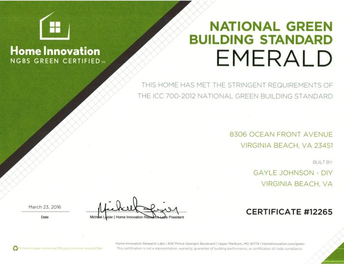 NGBS Emerald Certificate