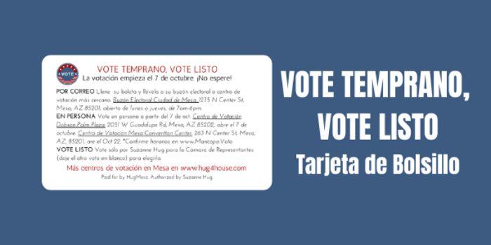 Vote temprano vote listo tarjeta de bolsillo