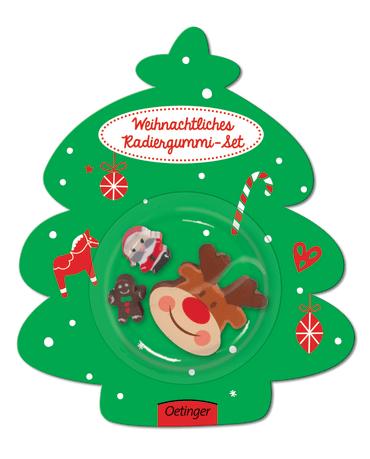 Weihnachtliches Radiergummi-Set Rentier, 4260512180010