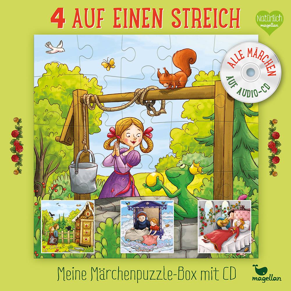 4 auf einen Streich - Meine Märchenpuzzle-Box mit CD