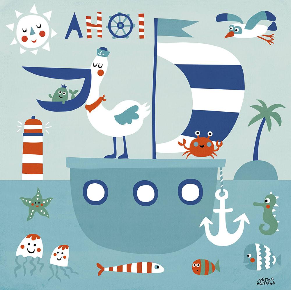Mein buntes Kinderzimmerbild - Freunde im Meer