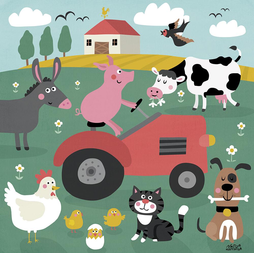 Mein buntes Kinderzimmerbild - Tiere auf dem Bauernhof