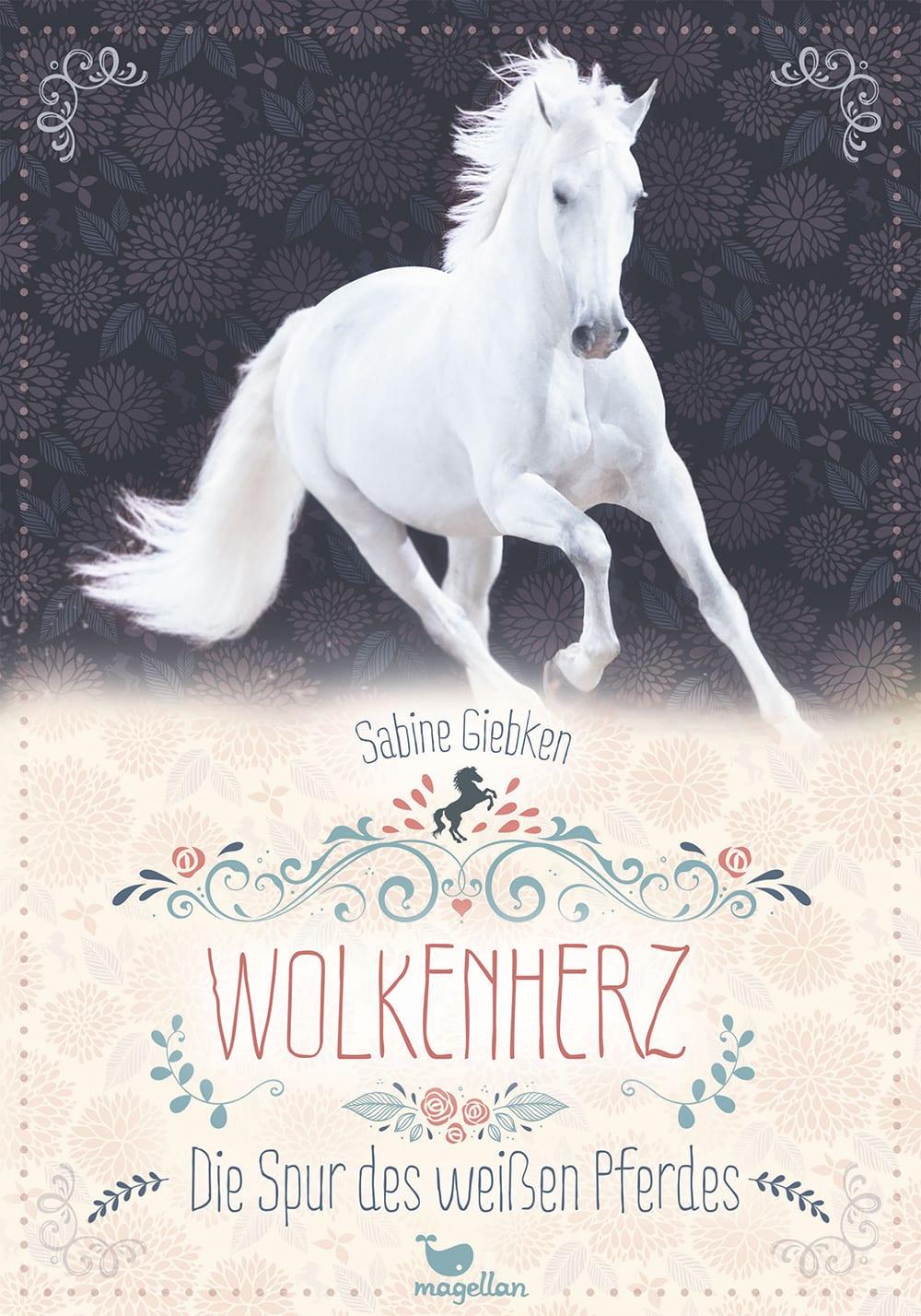 Cover Wolkenherz Band1 Die Spur des weißen Pferdes Pferdebuch von Sabine Giebken
