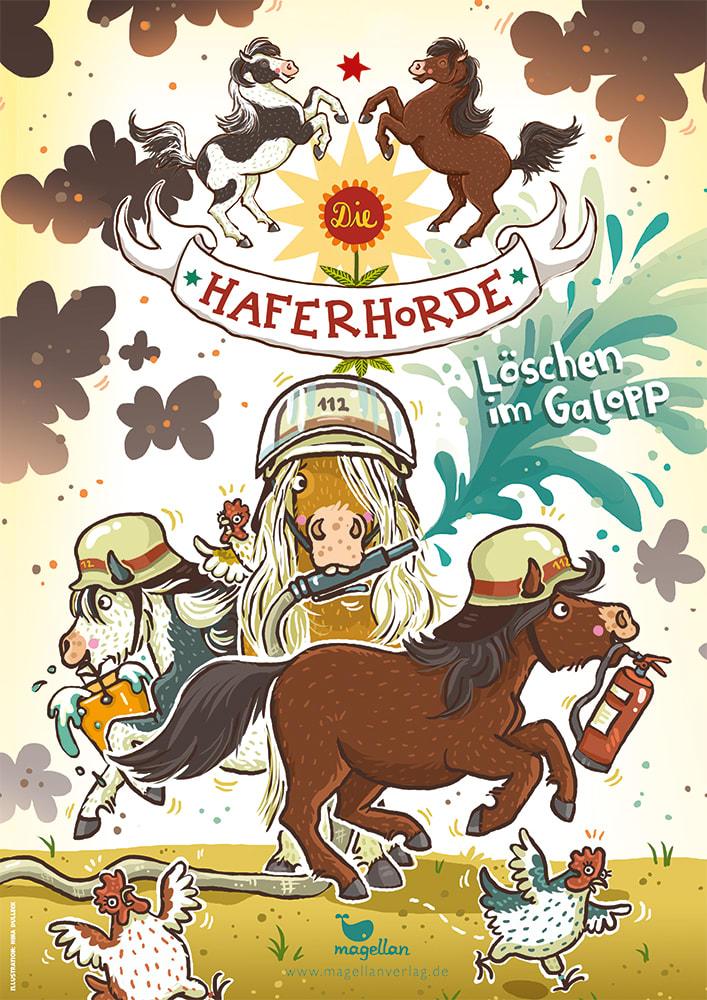 """Plakat """"Die Haferhorde - Löschen im Galopp!, Band 14"""""""