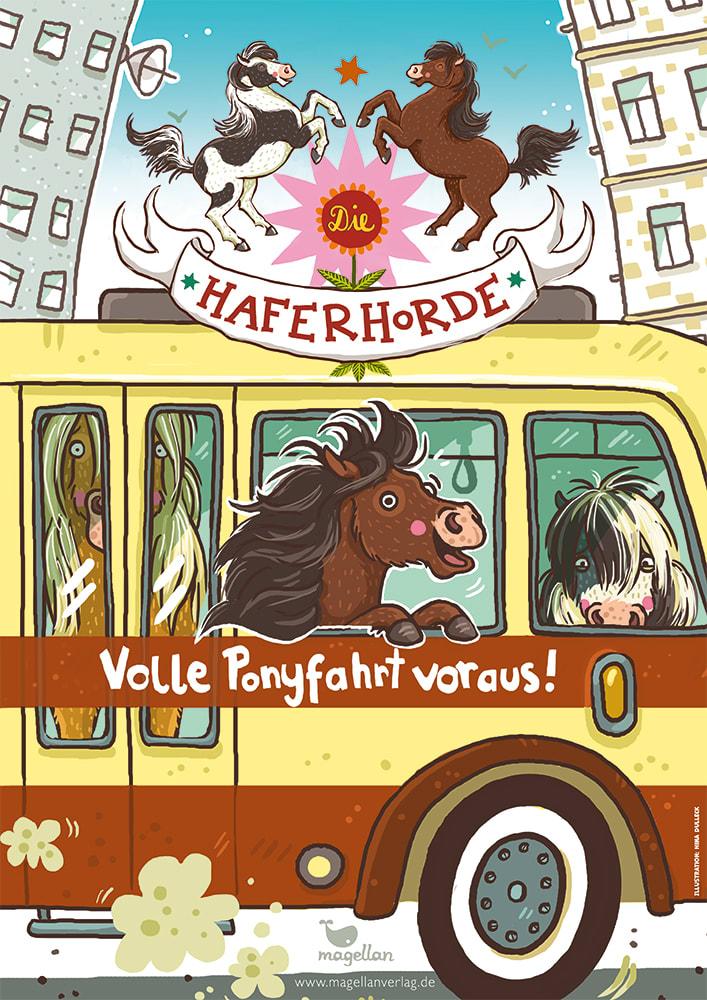 """Plakat """"Die Haferhorde - Ponyfahrt, Band 15"""""""