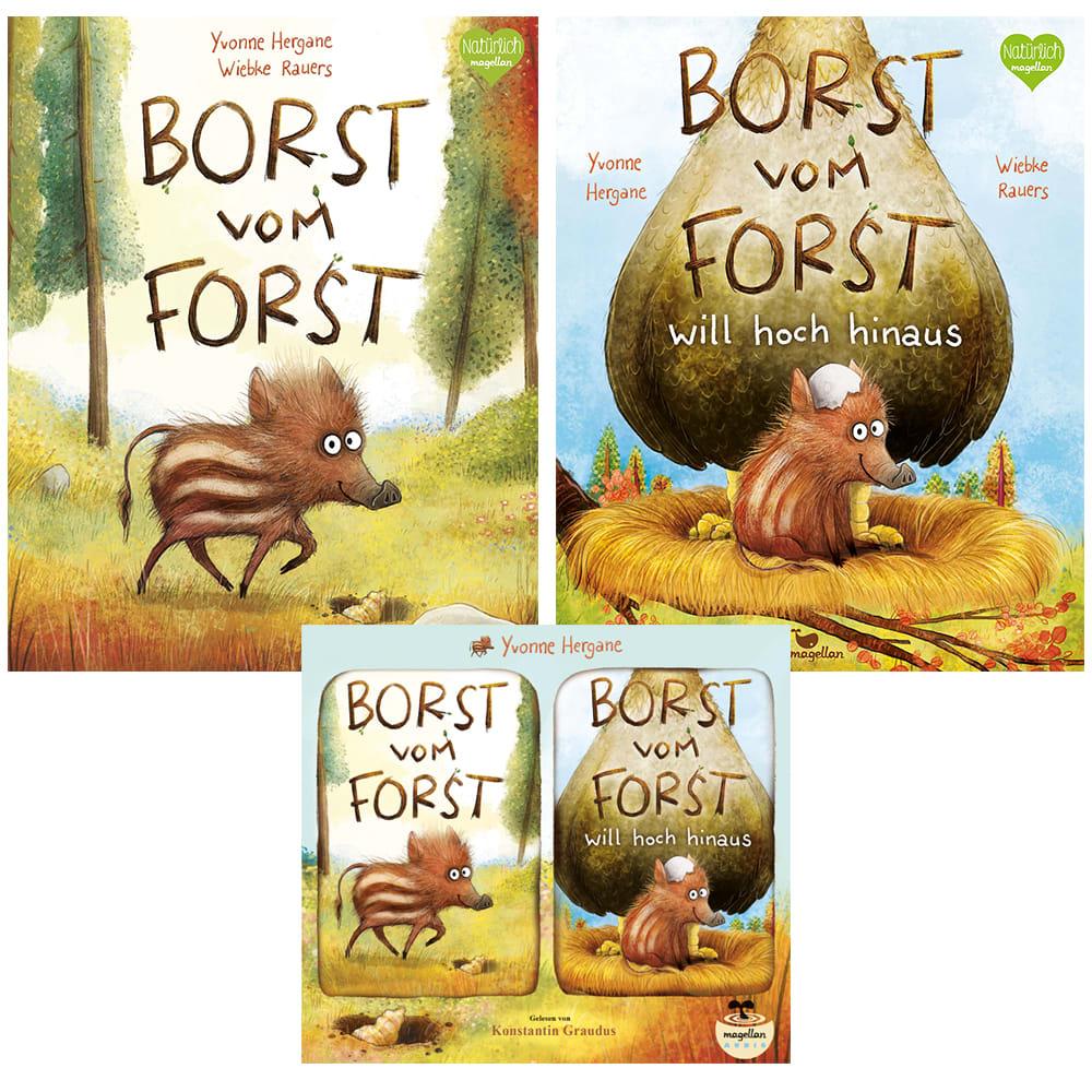 "Kombi-Paket ""Borst vom Forst, Bd. 1 + 2"" (Bücher + Hörbuch)"