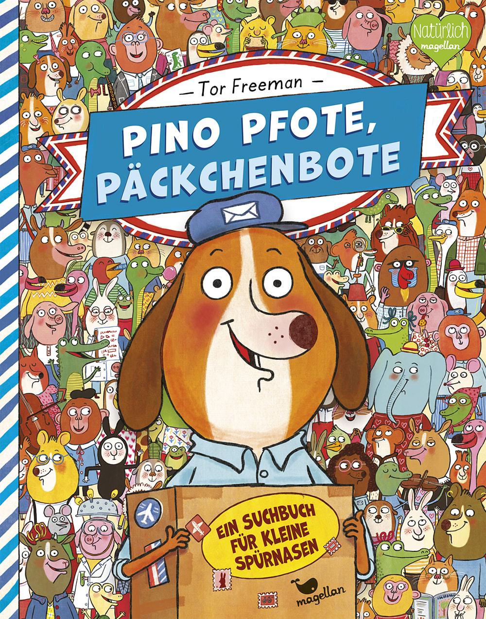 Cover Pino Pfote Band1 Päckchenbote Wimmelbuch Bilderbuch von Tor Freeman