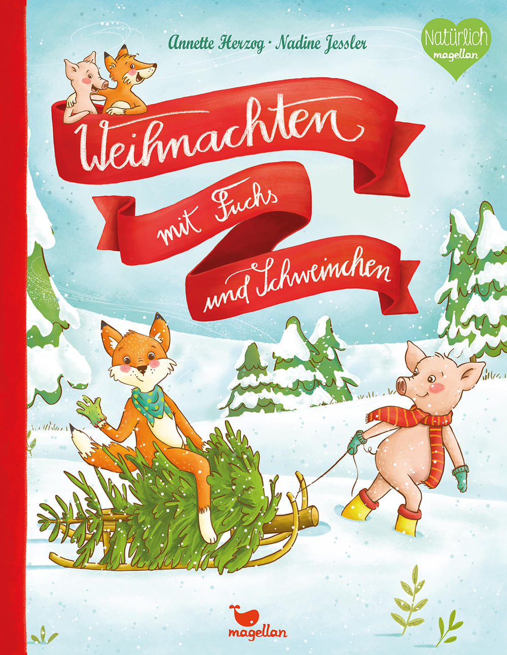 Cover Weihnachten mit Fuchs und Schweinchen Bilderbuch von Anette Herzog und Nadine Jessler