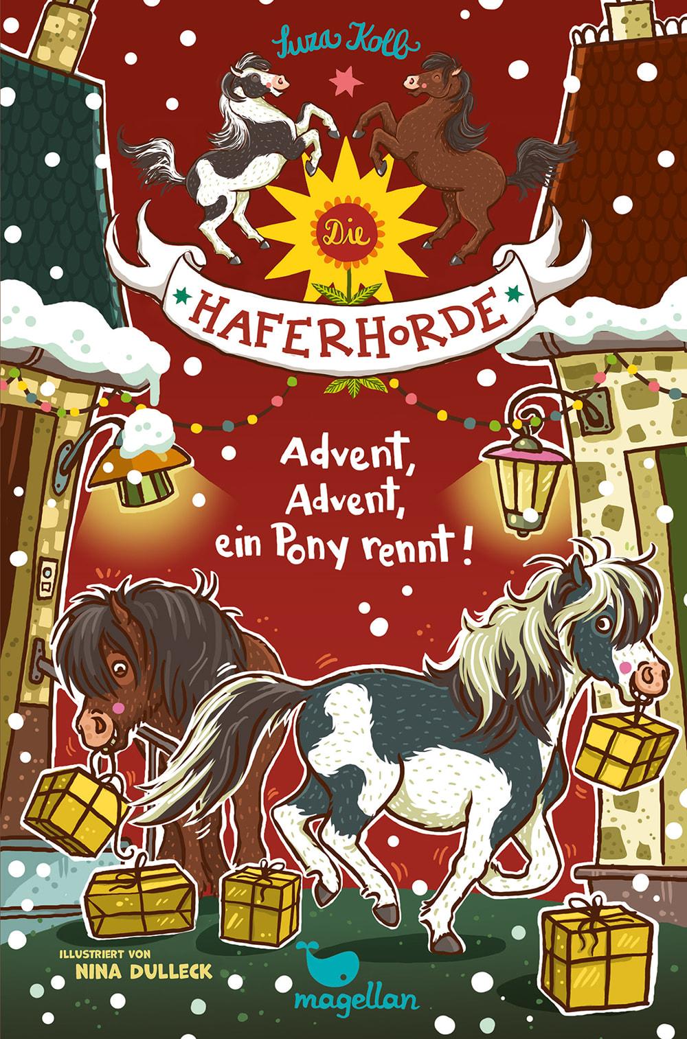 Cover Haferhorde Band16 Advent Advent ein Pony rennt Pferdebuch von Suza Kolb