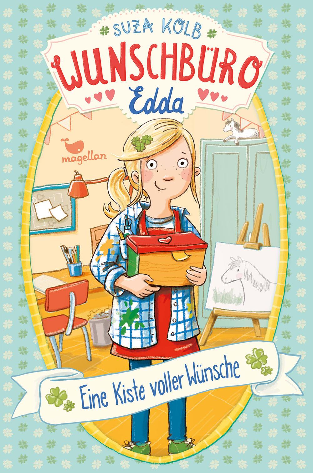 Cover Wunschbüro Edda Band1 Eine Kiste voller Wünsche Kinderbuch von Suza Kolb