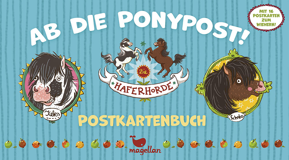 Cover Haferhorde Postkartenbuch Ab die Ponypost Beschäftigung von Suza Kolb und Nina Dulleck