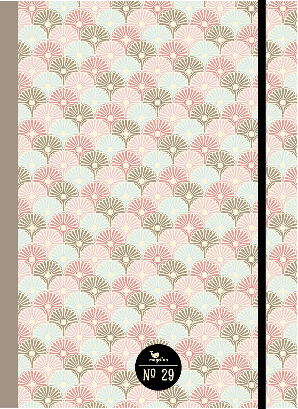 Cover Notizbuch Nummer 29 Retro-Fächer Schönes und Kreatives zum Eintragen