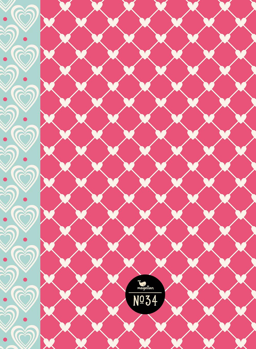 Cover Notizbuch Nummer 34 Herzen Schönes und Kreatives zum Eintragen
